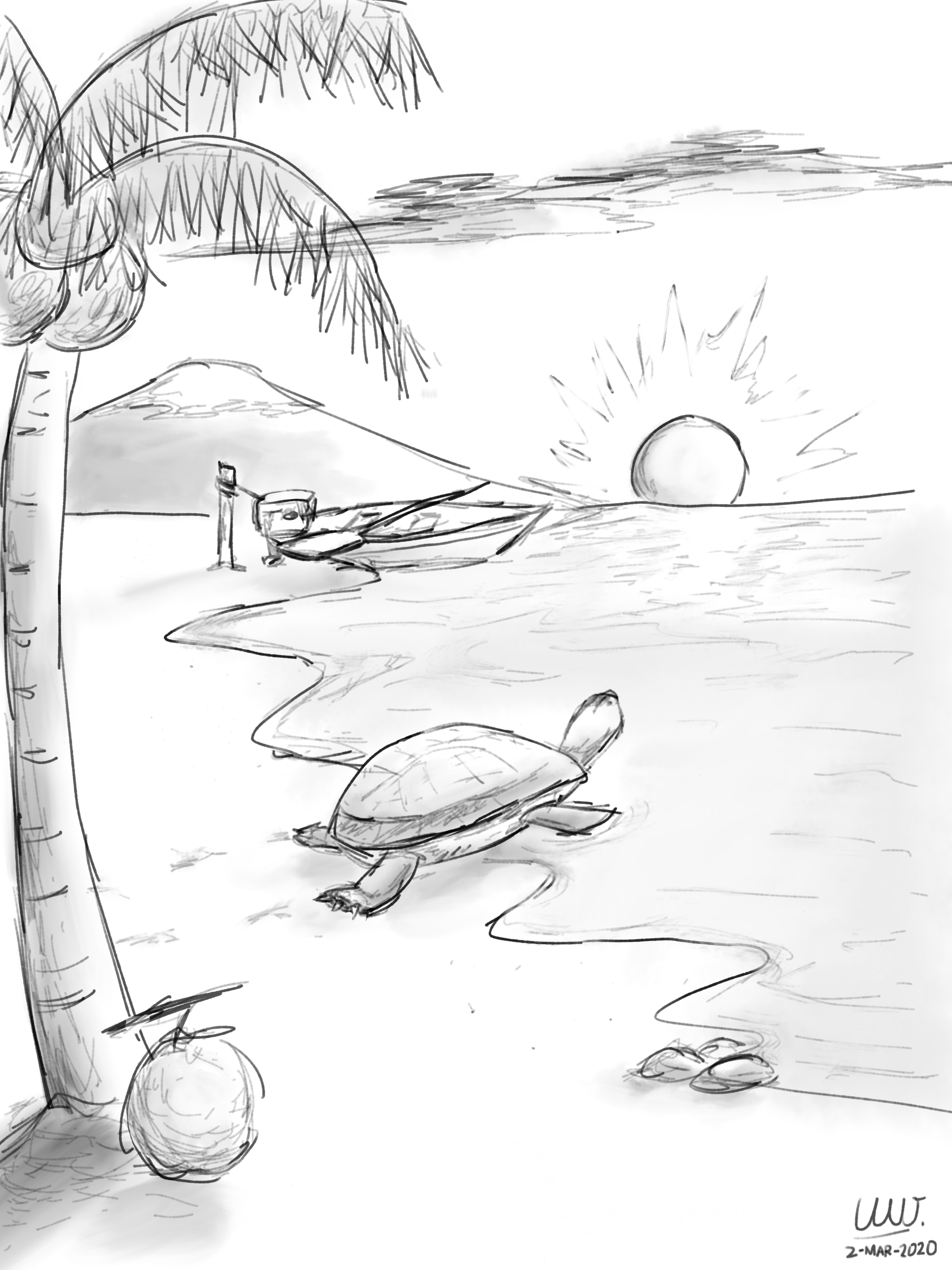 An artwork of a turtle, seemingly looking at the sunset at the shore. Some clouds, a mountain, a coconut tree, and a wooden boat can be seen in the background. A coconut can be seen at the root of the coconut tree, and a few pebbles/stones can be seen at the shore near the turtle.