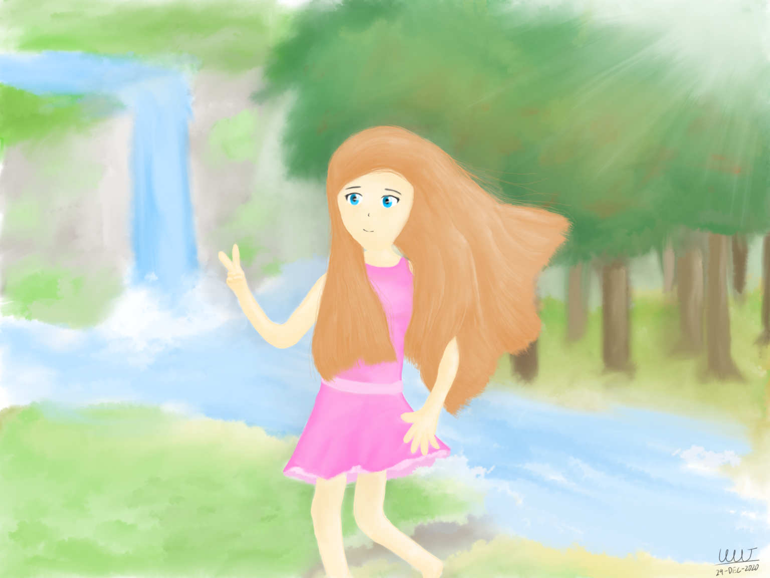 An e-watercolour painting of かざねちゃん (ka-za-ne-chan). She has long and brown hair, wearing a pink short dress. She appears to be posing for a camera shot with a peace hand sign, holding onto her waist-level long hair in front of her. Her dress and some of her hair behind her sway slightly with the wind, while her left leg is slightly lifted above the grass patch she's standing on, as if a step is being taken. The background consists of a waterfall far back to the left, and forest-like scenery on the back right. A river, in which the waterfall flows into, also flows behind her, from left to right, in front of the forest.