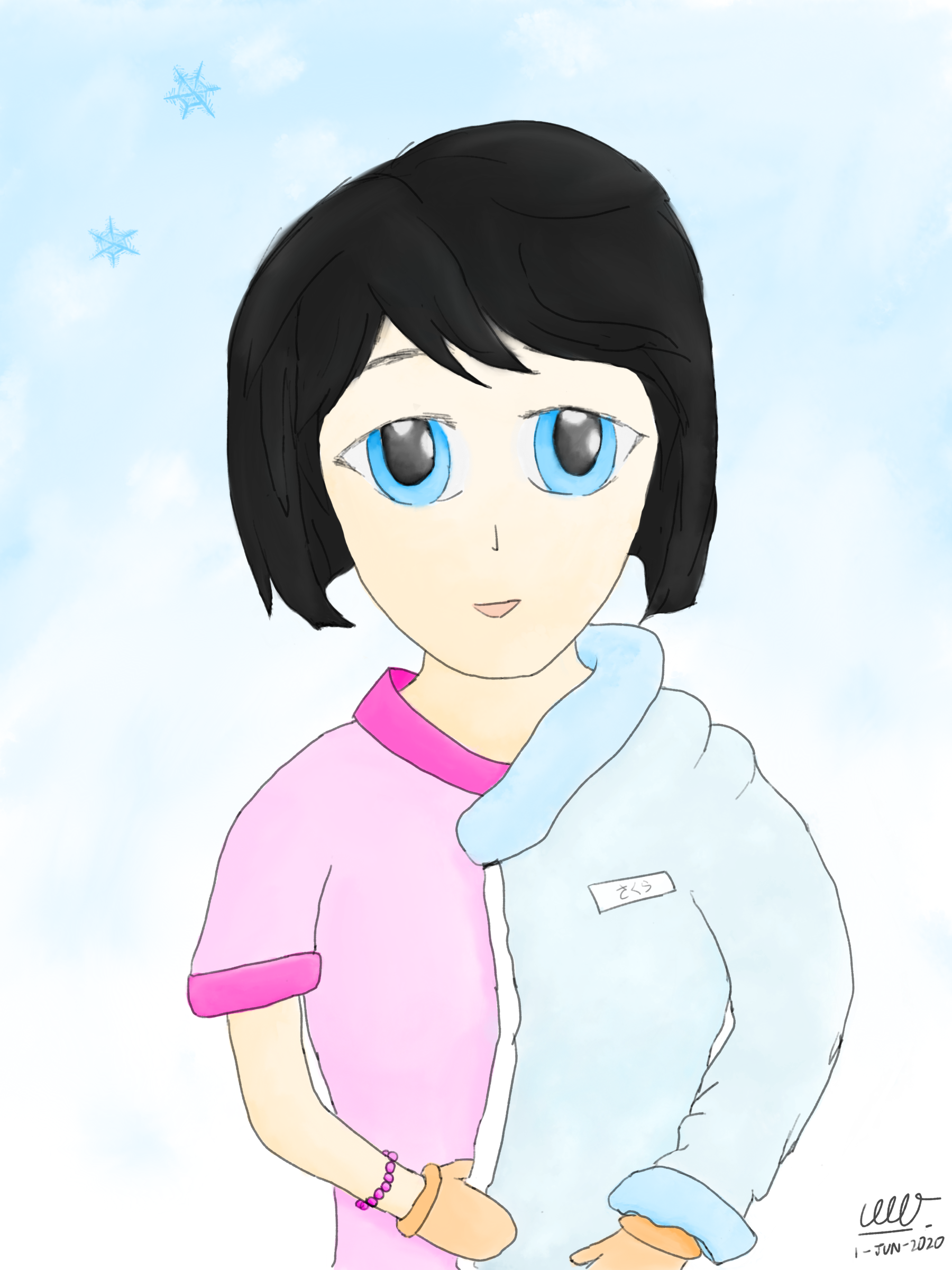 An e-watercolour portrait of sakura-chan, a fictional girl in the process of wearing a jacket. Half of the jacket is worn on the left portion of her body, also wearing a pair of gloves on both her hands. The background is vaguely snowing with a few snowflakes visible.