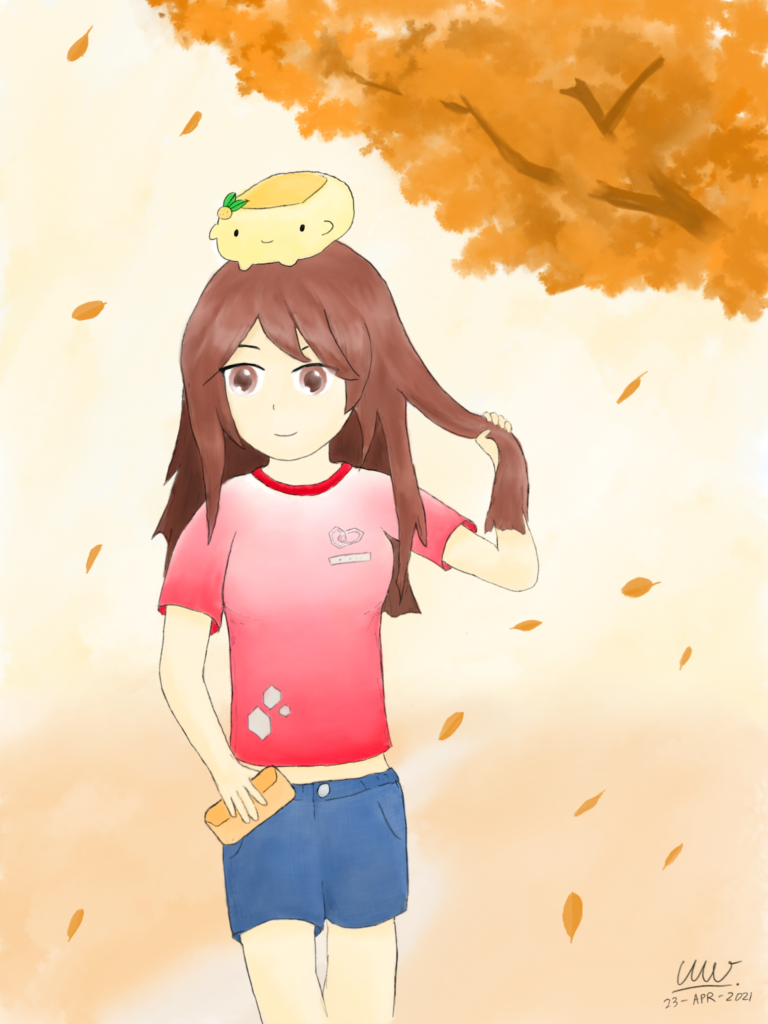 Titled Autumn Breeze, this e-watercolour painting features the portrait of a fictional girl standing under (and slightly in front of) a tree branch with autumn leaves. She appears to be fidgeting with her long, brown hair with her left hand, while leaves fall and flow with subtle winds blowing to her right. Wearing a red-white T-shirt with denim shorts, her right hand holds a purse-like item, while looking slightly off to her right. She also has a Yuzu Tofu plush toy on her head.