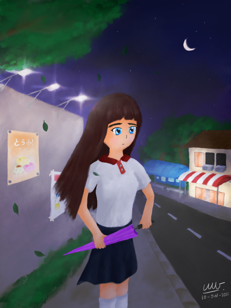Titled Distant Night, this e-watercolour painting features a small night-time roadside scenery. The foreground depicts a 3/4 portrait of a girl, facing to her left, standing on the pavement holding an umbrella. She can be seen wearing a white T-shirt with red collars and a dark blue skirt, gazing as if pondering at something afar. A wall with posters attached are visible on her right, with lamps illuminating from the wall-top. Leaves are seen dropping from a tree above her, as wind blows slightly from behind to her right. In the background, a two-story building can be seen behind, across the road to her left, with a bus stop next to it. The sky is mostly clear with a cresent moon and stars, though very minor amounts of clouds are present.